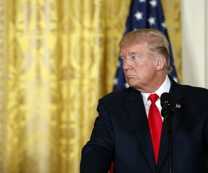 President Donald Trump at a news conference in the East Room of the White House, Aug. 28, 2017.