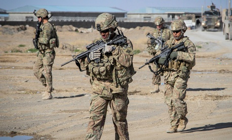 U.S. Soldiers with Forward Support Company, 65th Engineer Battalion conduct a presence patrol March 26, 2014, in Kandahar province, Afghanistan.