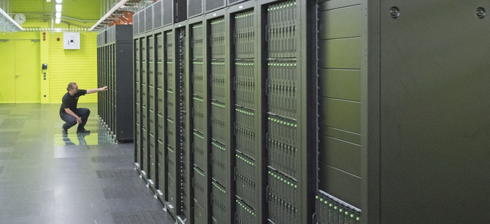 High Performance Computing and Storage Complex II (HRSK-II) during the official opening of the new data center of the Lehmann Center (LZR) of the Dresden University of Technology in Dresden, eastern Germany, Wednesday, May 13, 2015.