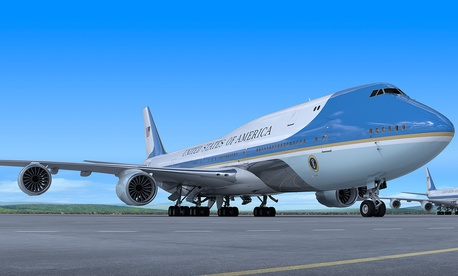 An artist rendition of the new Air Force One, a Boeing 747-8.