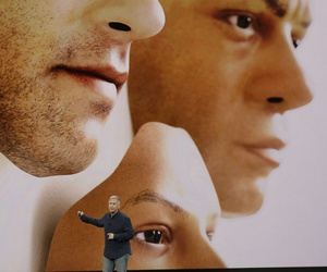 Phil Schiller, Apple's senior vice president of worldwide marketing, announces features of the new iPhone X at the Steve Jobs Theater on the new Apple campus on Tuesday, Sept. 12, 2017, in Cupertino, Calif.