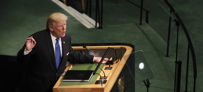 U.S. President Donald Trump addresses the 72nd United Nations General Assembly held at the United Nations on Sept. 19, 2017.