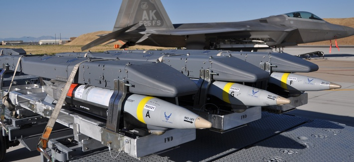 GBU-39 Small Diameter Bombs, made by Boeing, await loading on an F-22 Raptor in this 2012 file photo.