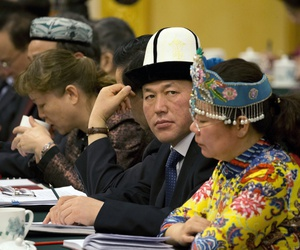 Chinese officials warned of global extremism, as delegates from Xinjiang met during the National People's Congress in Beijing, March 12, 2017.