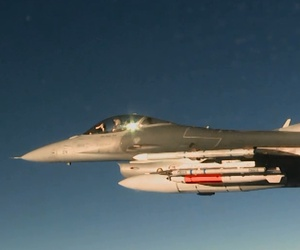 An Air Force F-16C dropped an inert B61-12 nuclear bomb during a development flight test at Nellis AFB, Nevada, on March 14, 2017