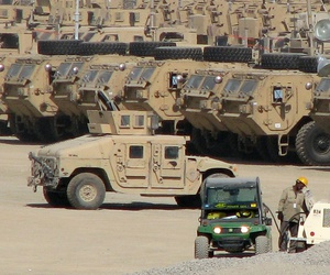 Equipment stands in a vehicle park at Bagram Airfield, Afghanistan, in 2017.