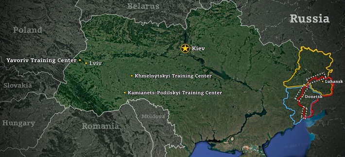 In Ukraine The US Trains An Army In The West To Fight In The East - Map ukraine over us
