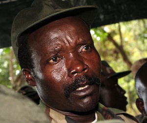 The leader of the Lord's Resistance Army Joseph Kony answers journalists' questions following a meeting with UN humanitarian chief Jan Egeland at Ri-Kwangba in southern Sudan in 2006