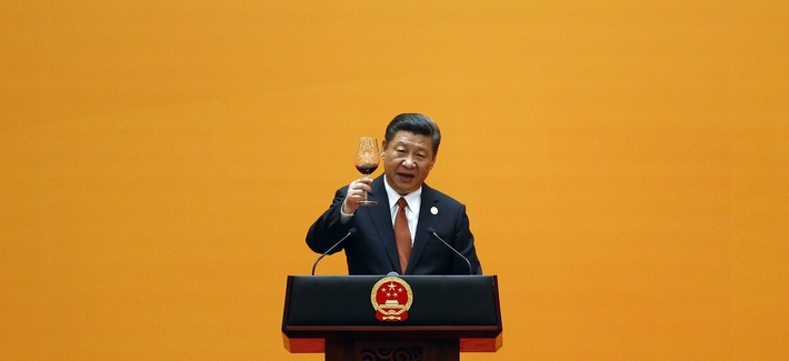 Chinese President Xi Jinping makes a toast, during the welcoming banquet for the Belt and Road Forum at the Great Hall of the People in Beijing, May 14, 2017.