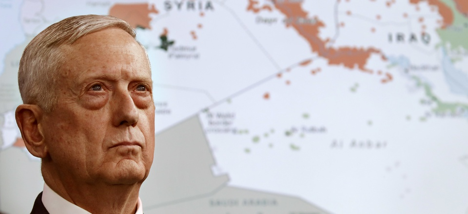 Secretary of Defense Jim Mattis stands in front of a map of Syria and Iraq, while speaking to the media about the Islamic State group, May 19, 2017, at the Pentagon.