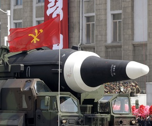 In this April 15, 2017, file photo, an unidentified missile that analysts believe could be the North Korean Hwasong 12 is paraded in Kim Il Sung Square in Pyongyang, North Korea.