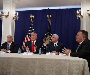 President Donald Trump with, from left, National Security Adviser H.R. McMaster, Vice President Mike Pence, and CIA Director Mike Pompeo, at Trump National Golf Club in Bedminster, N.J., Aug. 10, 2017.