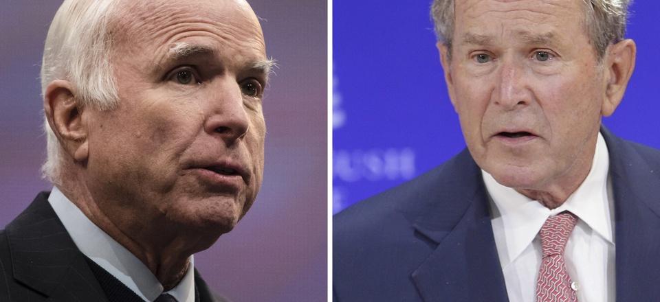 Left, Sen. John McCain, R-Ariz., speaks in Philadelphia on Oct. 16, 2017. Right, former U.S. President George W. Bush speaks in New York on Oct. 19, 2017.