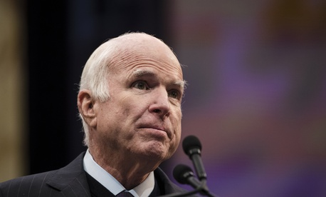 Sen. John McCain, R-Ariz., speaks after he received the Liberty Medal from the National Constitution Center in Philadelphia, Oct. 16, 2017
