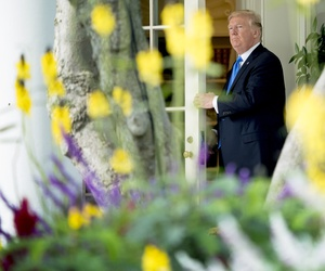 President Donald Trump leaves the Oval Office to board Marine One on the South Lawn of the White House in Washington, Oct. 25, 2017.
