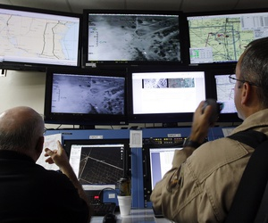 Activities of a Predator B unmanned aircraft are monitored at the Naval Air Station, Tuesday, Nov. 8, 2011, in Corpus Christi, Texas.
