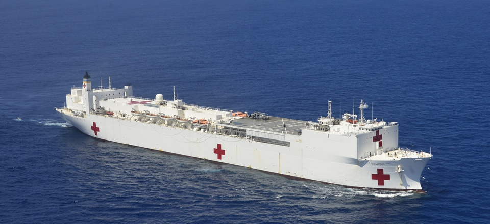 Hospital ship USNS Comfort (T-AH 20) pictured off the coast of San Juan, Puerto Rico, Oct. 6, 2017.