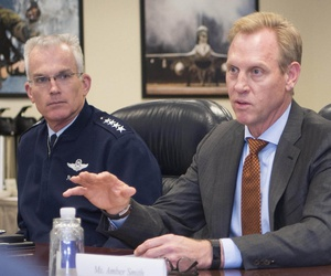 Deputy Defense Secretary Pat Shanahan speaks during a roundtable at the Pentagon, Oct. 18, 2017. Air Force Gen. Paul J. Selva, vice chairman of the Joint Chiefs of Staff is on his left.