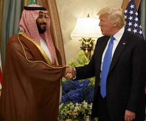 In this Saturday, May 20, 2017 file photo, President Donald Trump shakes hands with Saudi Deputy Crown Prince and Defense Minister Mohammed bin Salman during a bilateral meeting, in Riyadh.