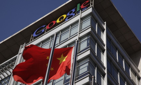 A Chinese flag flutters outside Google's China headquarters in Beijing, China, Wednesday, Jan. 13, 2010.