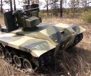 Russia has developed an unmanned vehicle armed with a machine gun and a grenade launcher to defend missile launchers.