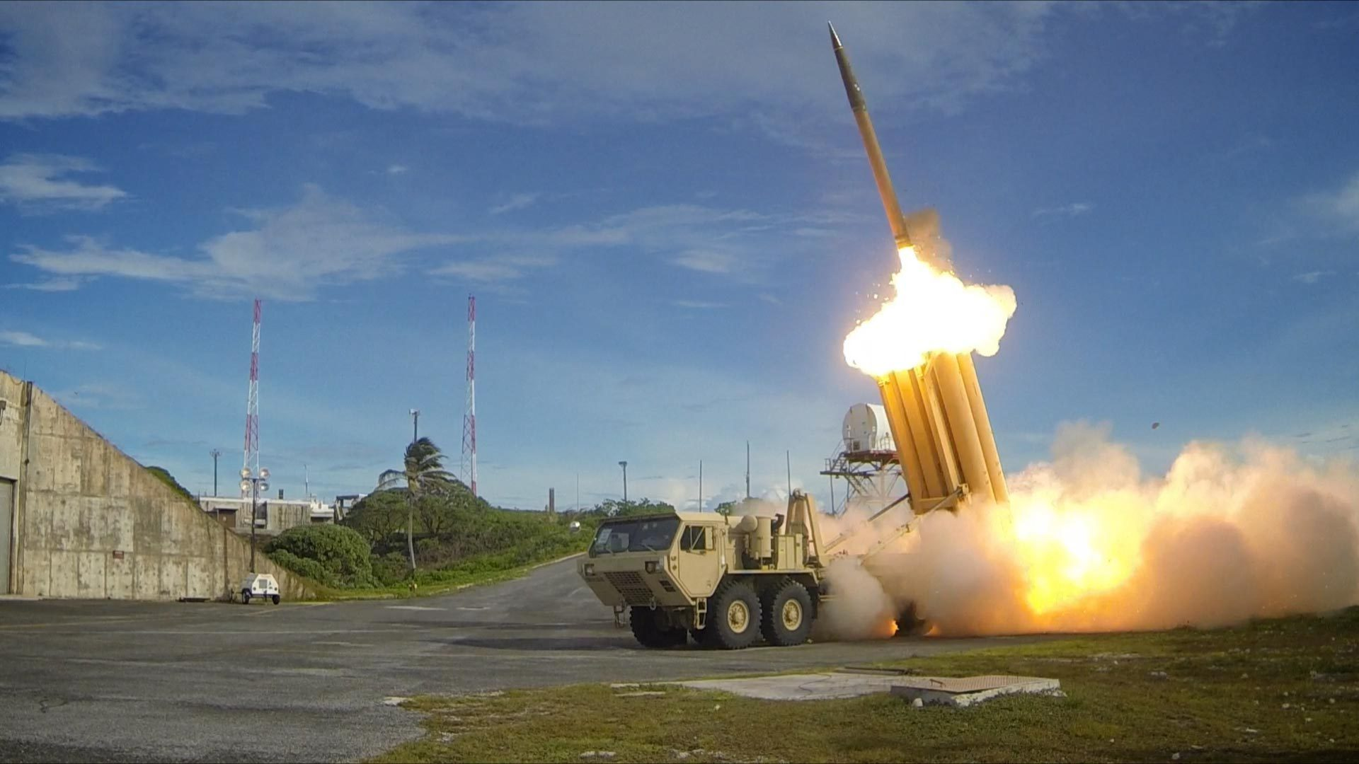 The first of two Terminal High Altitude Area Defense (THAAD) interceptors is launched during a successful intercept test.