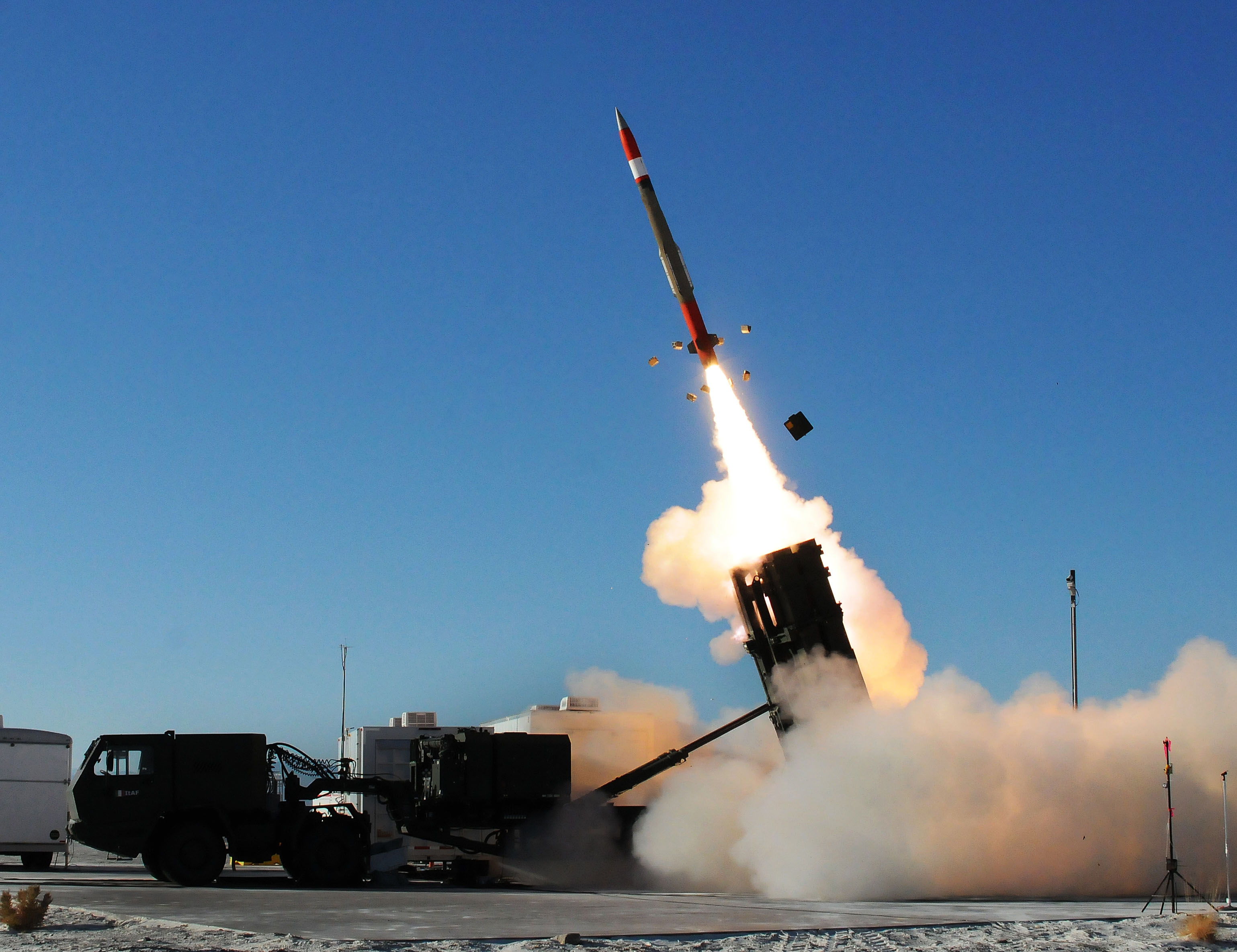 A Medium Extended Air Defense System missile is launched to intercept a target during a MEADS test at White Sands Missile Range Nov. 29