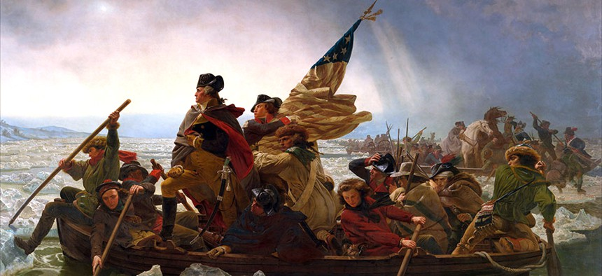 A portrait of George Washington crossing the Delaware