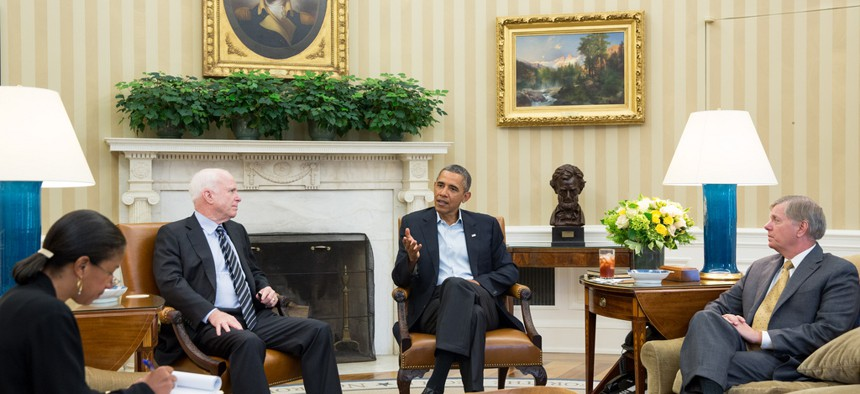 President Obama meeting with other senators on the topic of Syria