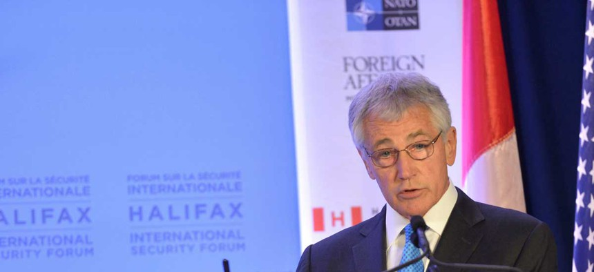 Defense Secretary Chuck Hagel speaking at the International Security Forum in Halifax, Nova Scotia, Canada.