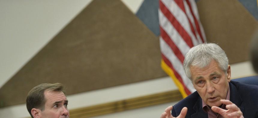 Defense Secretary Chuck Hagel at Sandia Laboratories in New Mexico