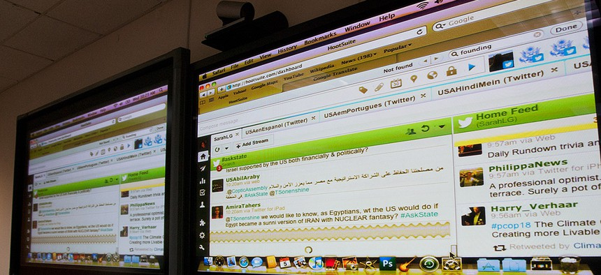 The State Department's Twitter feeds during a global Twitter chat with former undersecretary of state for public diplomacy Tara Sonenshine