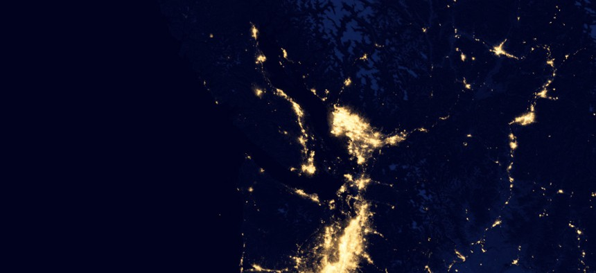 The United States at night as seen from composite images via data acquired by the Suomi NPP satellite in April and October 2012.