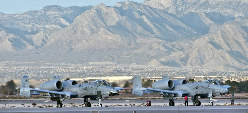 Two Air Force A-10s are parked at Nellis Air Force Base, Nev on December 10, 2010.