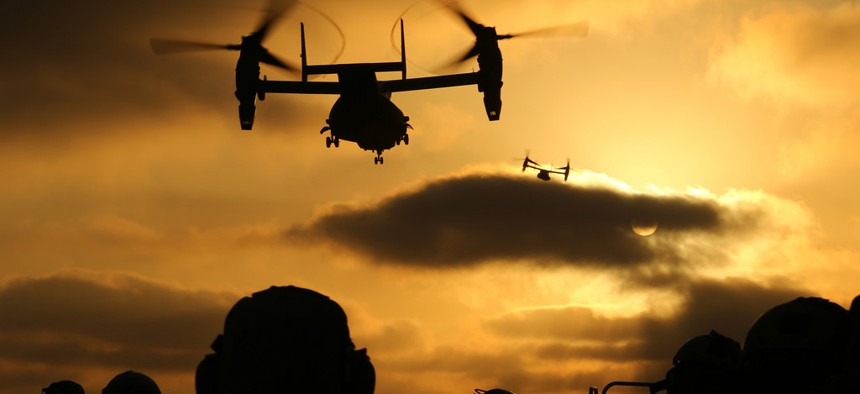 MV-22B Ospreys take off from the flight deck of the USS Makin Island during training off the coast of San Diego, April 15, 2014.
