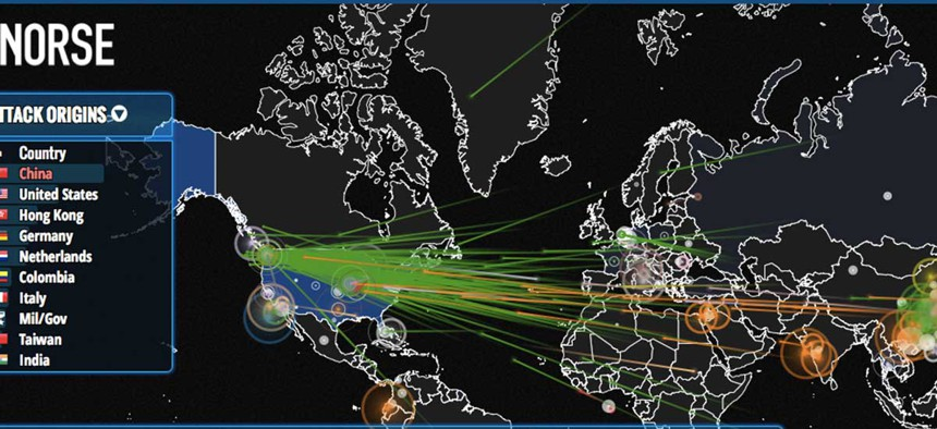 A live rendering of cyber attacks happening in real time, produced by Norse.