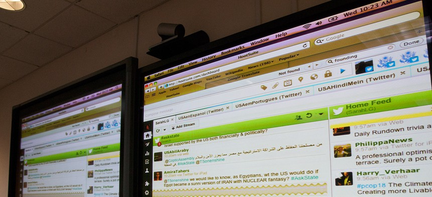 Former Undersecretary of State for Public Diplomacy Tara Sonenshine participates in a Global Twitter Q&A, on December 5, 2012.