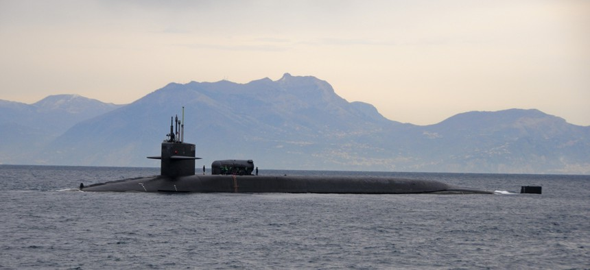 The USS Florida pulls into the Bay of Naples, on March 4, 2011.