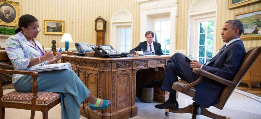 President Obama meets with National Security Advisor Susan Rice and Deputy National Security Advisor Tony Blinken in the Oval Office.