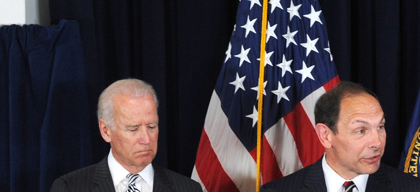 VA Secretary Robert McDonald stands with President Obama and Vice President Joe Biden as he is nominated to lead the department at a ceremony on June 30, 2014.