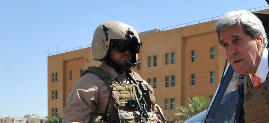 U.S. Secretary of State John Kerry arrives at the U.S. Embassy in Baghdad, Iraq, under heavy security on June 23, 2014.
