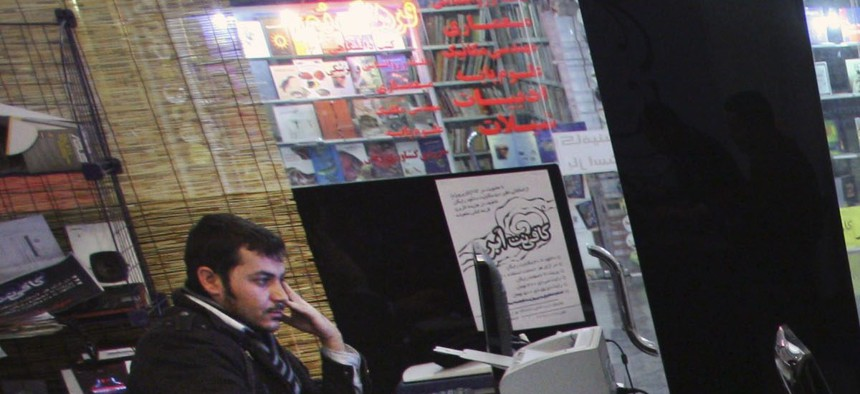 Iranian journalism students work at an internet cafe in central Tehran, Iran, Tuesday, Jan. 18, 2011.