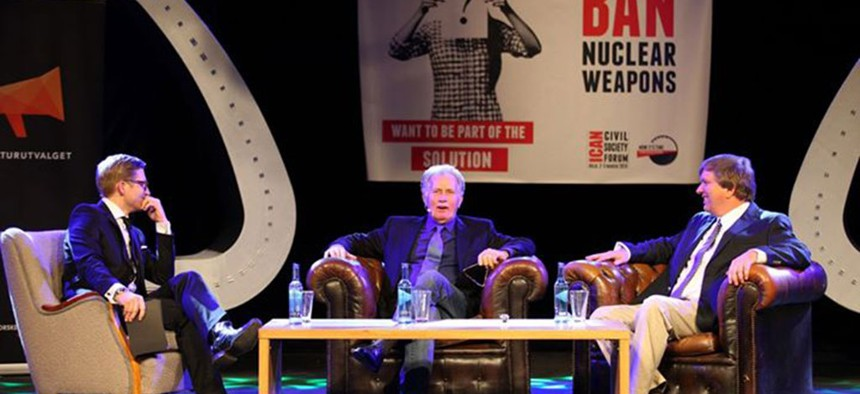 Actor Martin Sheen speaks at the ICAN Civil Society Forum in Oslo, Norway, on March 3, 2013.