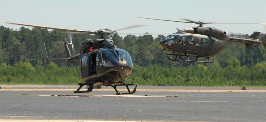 Two Louisiana National Guard UH-72 Lakota helicopters.