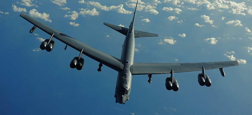 A U.S. Air Force B-52 Stratofortress from the 20th Expeditionary Bomb Squadron, Barksdale Air Force Base, La., flies a mission in support of Rim of the Pacific (RIMPAC) 2010 over the Pacific Ocean July 10, 2010.
