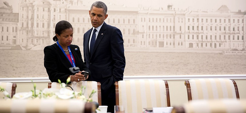 President Obama speaks with his national security advisor Susan Rice at the  Konstantinovsky Palace during the G20 Summit, in September 2013.