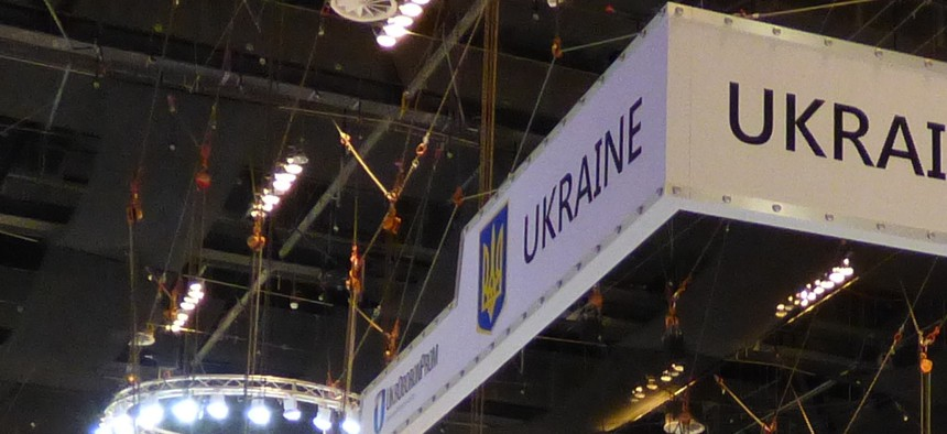The Ukrainian pavilion at IDEX 2015.