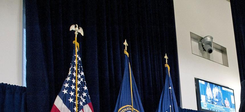 VA Secretary Bob McDonald speaks to employees during a town hall meeting for VA employees in Washington, D.C.