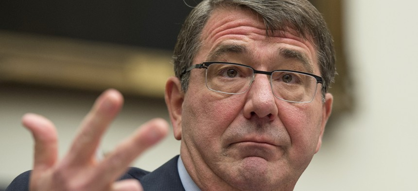 Defense Ash Carter testifies on Capitol Hill in Washington, Wednesday, March 18, 2015, before the House Armed Services Committee .
