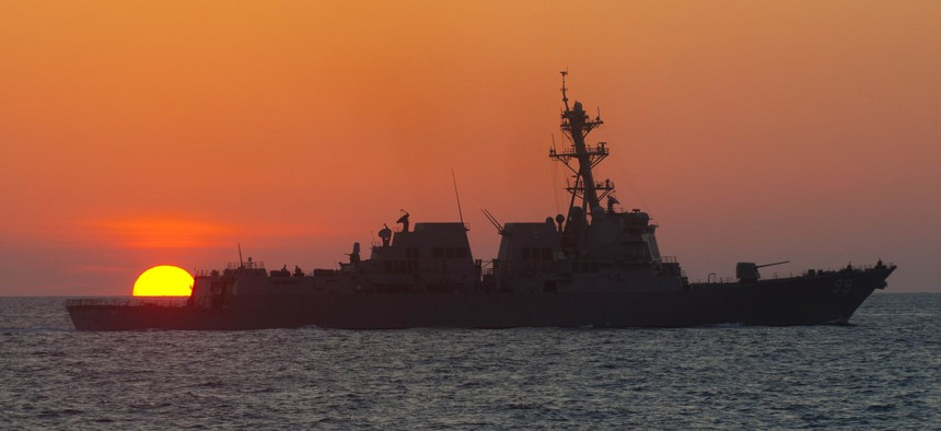 The guided-missile destroyer USS Farragut (DDG 99) transits the Atlantic Ocean. Farragut is underway taking part in the Carrier Strike Group 8 composite training unit exercise (COMPTUEX) in the Atlantic Ocean.